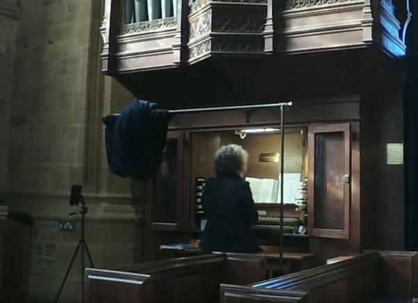 Rachel playing the organ in St John's church