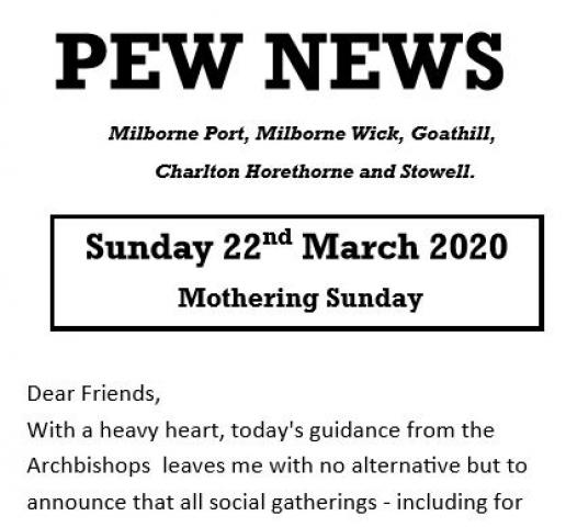 Pew News for Mothering Sunday
