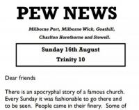 Pew News for 16 August 2020