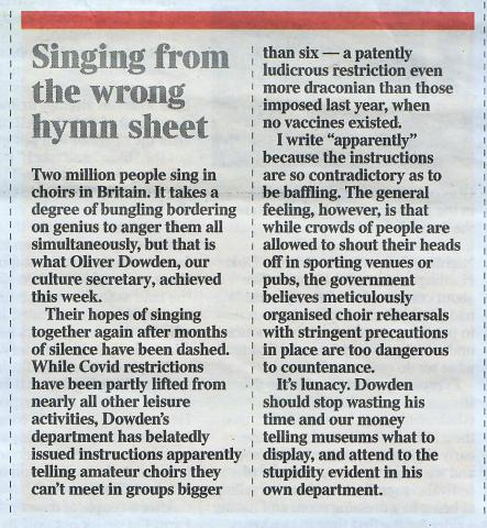 Change of Guidelines for Choirs
