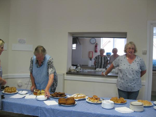 Serving tea in Church House