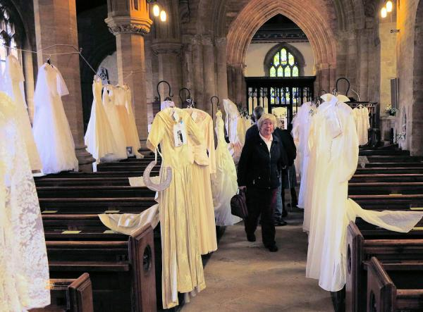 St John's church with wedding dresses on display